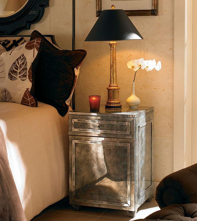 Mirrored nightstand home