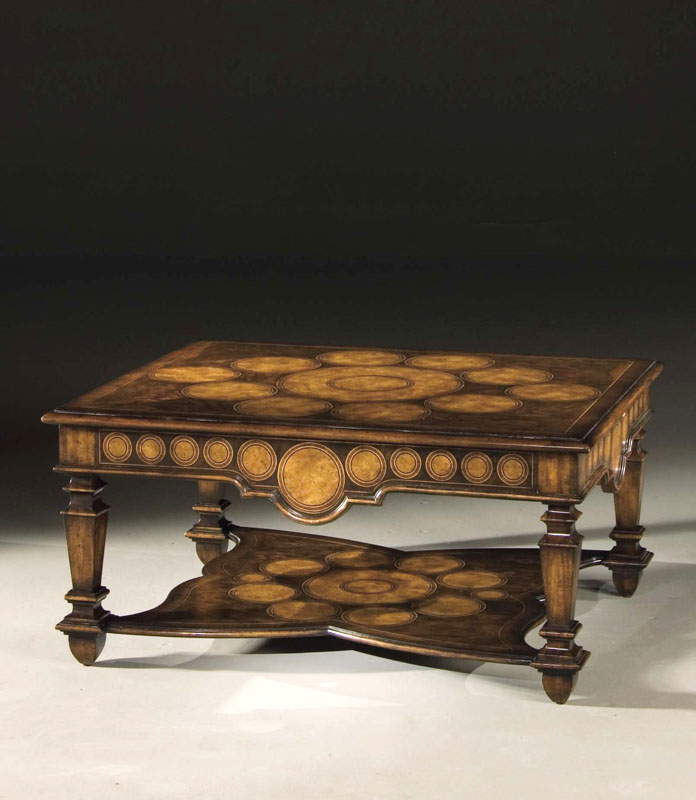 WEDDING RING COCKTAIL TABLE MN5003 Alder solids and Mixed marquetry